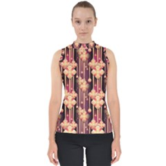 Illustrations Seamless Pattern Mock Neck Shell Top