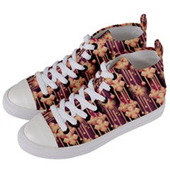 Illustrations Seamless Pattern Women s Mid-Top Canvas Sneakers