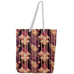 Illustrations Seamless Pattern Full Print Rope Handle Tote (Large)