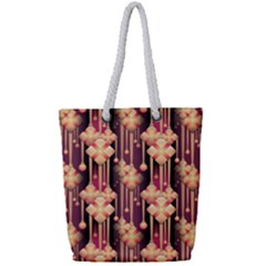 Illustrations Seamless Pattern Full Print Rope Handle Tote (Small)