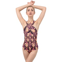 Illustrations Seamless Pattern Cross Front Low Back Swimsuit