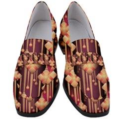 Illustrations Seamless Pattern Women s Chunky Heel Loafers