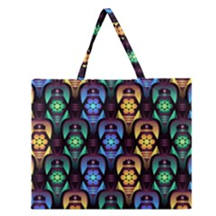 Pattern Background Bright Blue Zipper Large Tote Bag by Pakrebo
