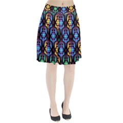 Pattern Background Bright Blue Pleated Skirt