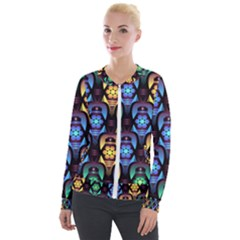Pattern Background Bright Blue Velour Zip Up Jacket