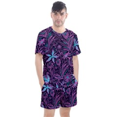 Stamping Pattern Leaves Drawing Men s Mesh Tee And Shorts Set