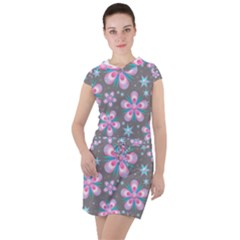 Seamless Pattern Flowers Pink Drawstring Hooded Dress by Pakrebo