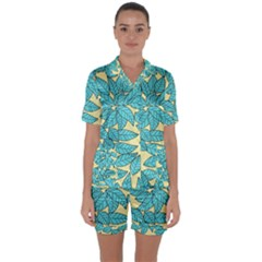 Leaves Dried Leaves Stamping Satin Short Sleeve Pyjamas Set