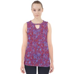 Wine Blue Floral Design     Cut Out Tank Top by 1dsign
