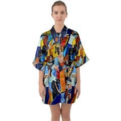 Double Vision  Quarter Sleeve Kimono Robe by valvescovi
