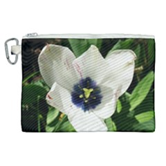 Blue Centered Tulip Canvas Cosmetic Bag (xl) by okhismakingart