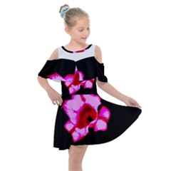 Pink And Red Tulip Kids  Shoulder Cutout Chiffon Dress