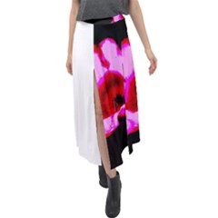 Pink And Red Tulip Velour Split Maxi Skirt
