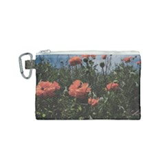 Faded Poppy Field  Canvas Cosmetic Bag (small) by okhismakingart