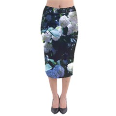 Blue Snowballs Ii Velvet Midi Pencil Skirt by okhismakingart