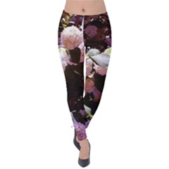 Purple Snowballs Velvet Leggings by okhismakingart