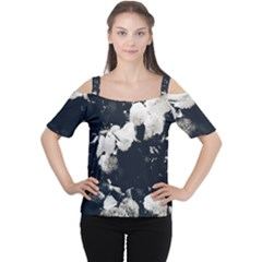 High Contrast Black And White Snowballs Ii Cutout Shoulder Tee by okhismakingart