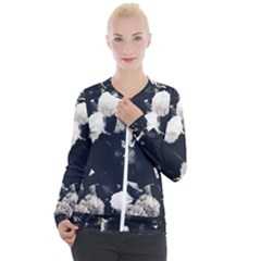 High Contrast Black And White Snowballs Ii Casual Zip Up Jacket