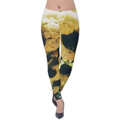 Yellow Snowballs Velvet Leggings by okhismakingart