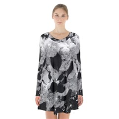 Black And White Snowballs Long Sleeve Velvet V Neck Dress by okhismakingart