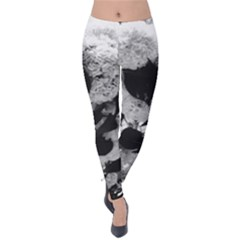 Black And White Snowballs Velvet Leggings by okhismakingart