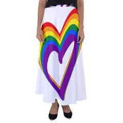Rainbow Heart Colorful Lgbt Rainbow Flag Colors Gay Pride Support Flared Maxi Skirt