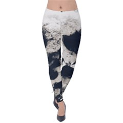 High Contrast Black And White Snowballs Velvet Leggings by okhismakingart