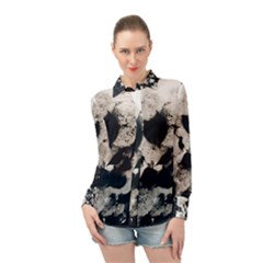 High Contrast Black And White Snowballs Long Sleeve Chiffon Shirt by okhismakingart