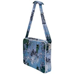 Surfboard With Dolphin Cross Body Office Bag by FantasyWorld7