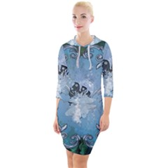 Surfboard With Dolphin Quarter Sleeve Hood Bodycon Dress by FantasyWorld7