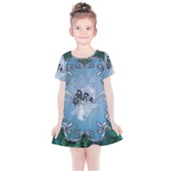 Surfboard With Dolphin Kids  Simple Cotton Dress by FantasyWorld7