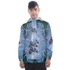Surfboard With Dolphin Men s Front Pocket Pullover Windbreaker by FantasyWorld7