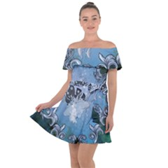 Surfboard With Dolphin Off Shoulder Velour Dress by FantasyWorld7