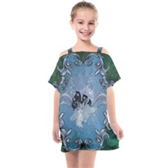 Surfboard With Dolphin Kids  One Piece Chiffon Dress by FantasyWorld7