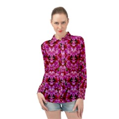 Flowers And Bloom In Sweet And Nice Decorative Style Long Sleeve Chiffon Shirt