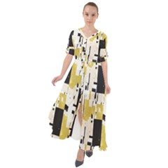 Abstract Scraps Yellow Maxi Dress