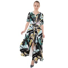 Abstract Brushstrokes Aqua Maxi Dress by JoneienLeahCollection