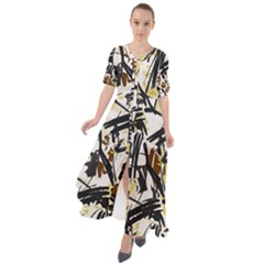 Abstract Brushstrokes Natural Maxi Dress