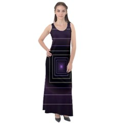Fractal Square Modern Purple Sleeveless Velour Maxi Dress