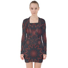 Fractal Glowing Abstract Digital V Neck Bodycon Long Sleeve Dress