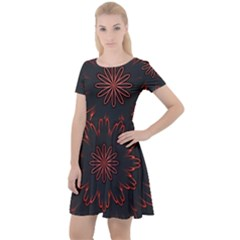 Fractal Glowing Abstract Digital Cap Sleeve Velour Dress