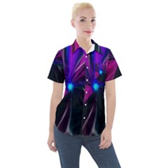 Abstract Background Lightning Women s Short Sleeve Pocket Shirt