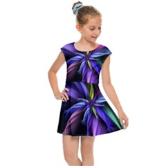 Fractal Floral Pattern Petals Kids  Cap Sleeve Dress by Pakrebo