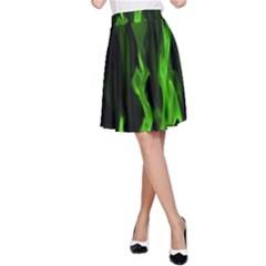 Smoke Flame Abstract Green A Line Skirt by Pakrebo