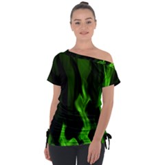 Smoke Flame Abstract Green Tie Up Tee by Pakrebo