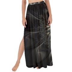 Fractal Abstract Pattern Silver Maxi Chiffon Tie Up Sarong