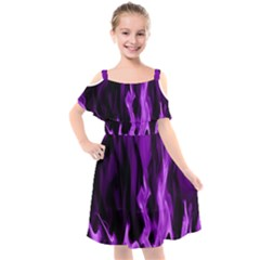 Smoke Flame Abstract Purple Kids  Cut Out Shoulders Chiffon Dress
