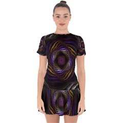 Fractal Abstract Fractal Art Drop Hem Mini Chiffon Dress
