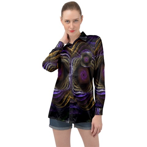 Fractal Abstract Fractal Art Long Sleeve Satin Shirt by Pakrebo
