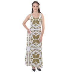 Illustrations Pattern Gold Floral Texture Design Sleeveless Velour Maxi Dress